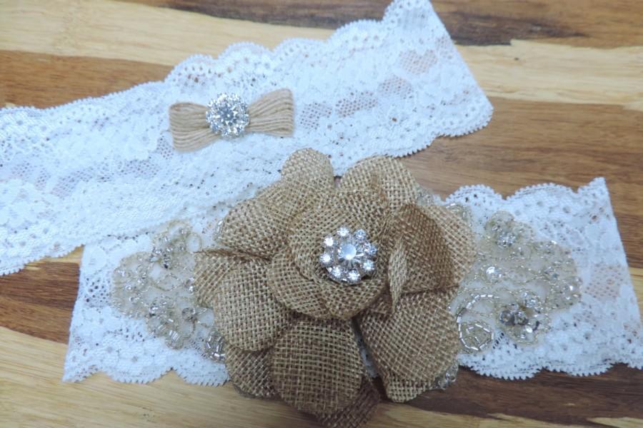 Mariage - Rustic wedding garter set,  Ivory stretch lace garter,  Wedding garter set,  Garters