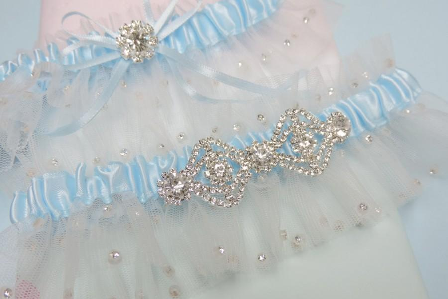 Mariage - Glitzy Wedding Garter Set,  Blue and Ivory Wedding Garter Set,  Wedding Garters
