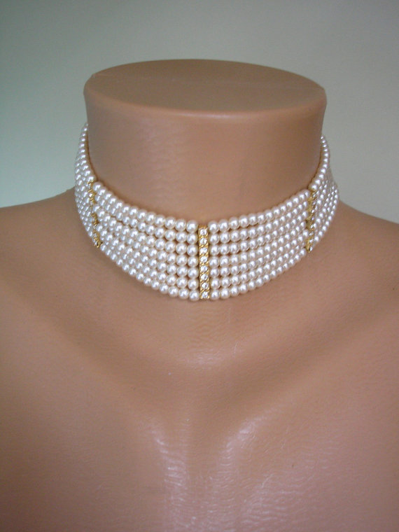 Nozze - Pearl And Rhinestone Choker, Great Gatsby Jewelry, Pearl Necklace, Bridal Statement, Vintage Bridal, Diamante Choker, Bridal Necklace