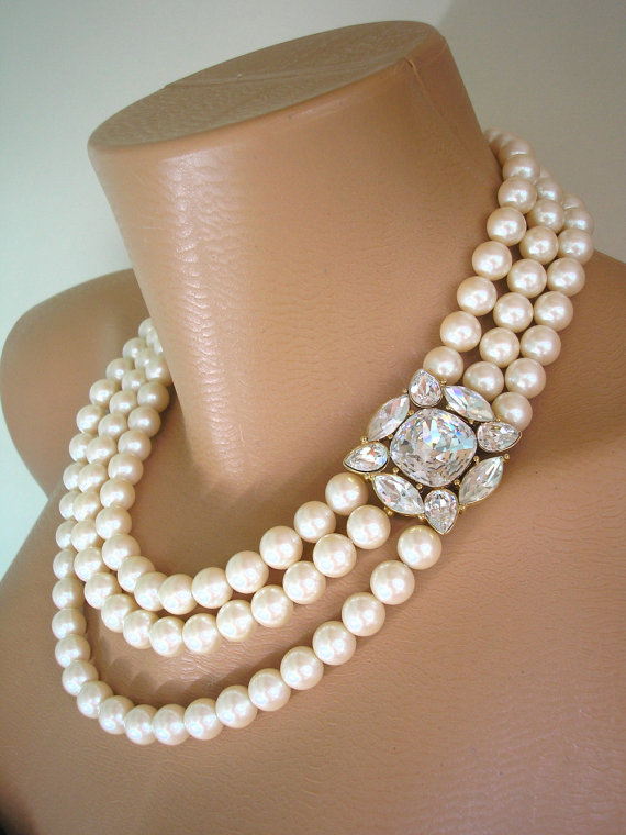Pearl Necklace MONET Jewelry Statement Mother Of The Bride Great Gatsby Choker Wedding Bridal Deco
