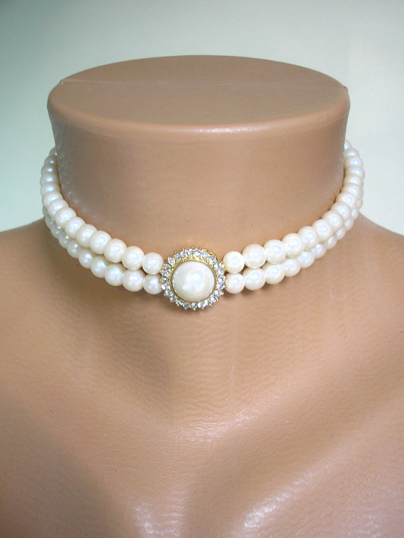 Wedding - Pearl Choker, Great Gatsby, Pearl Necklace, 2 Strand Pearls, Ivory Pearls, Vintage Wedding, Bridal Choker, Art Deco, Edwardian Style
