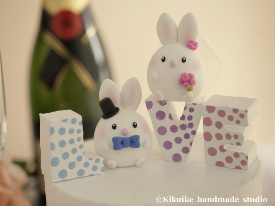 Mariage - rabbit and bunny Wedding Cake Topper---k964