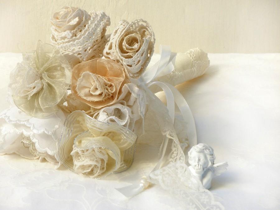 Bridal Bouquet, Wedding Bouquet, Burlap Lace Flowers, Bridesmaid ...