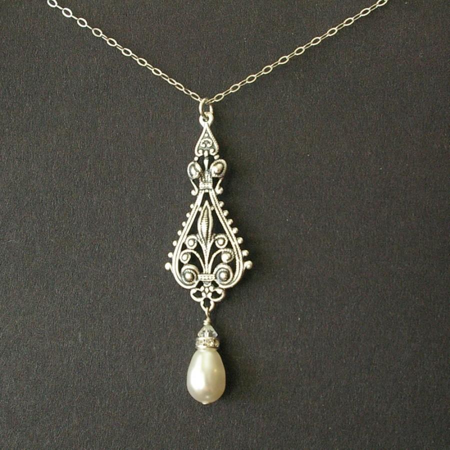 زفاف - Antique Silver Filigree Bridal Necklace, Vintage Wedding Necklace, Sterling Silver Chain, Teardrop Pearl, Art Deco Bridal Necklace, VIVIENNE