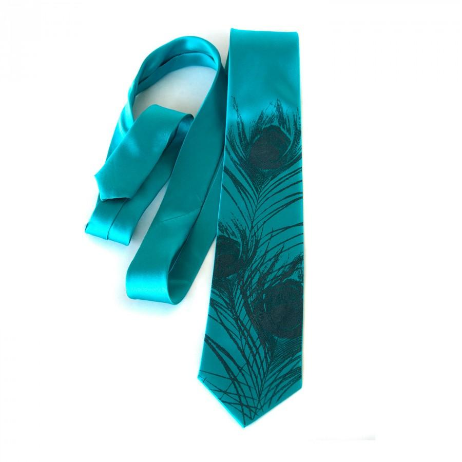 Mariage - Teal blue peacock tie. Peacock feather men's silk necktie. Silkscreened tie, slate print. Choose from teal silk and more.