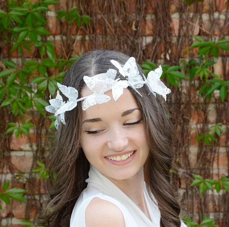 Mariage - White Lace Butterfly Crown, Wedding Bridal Halo, Butterfly Hair Piece , Bridal Hair  Wreath , Boho Wedding Headpiece