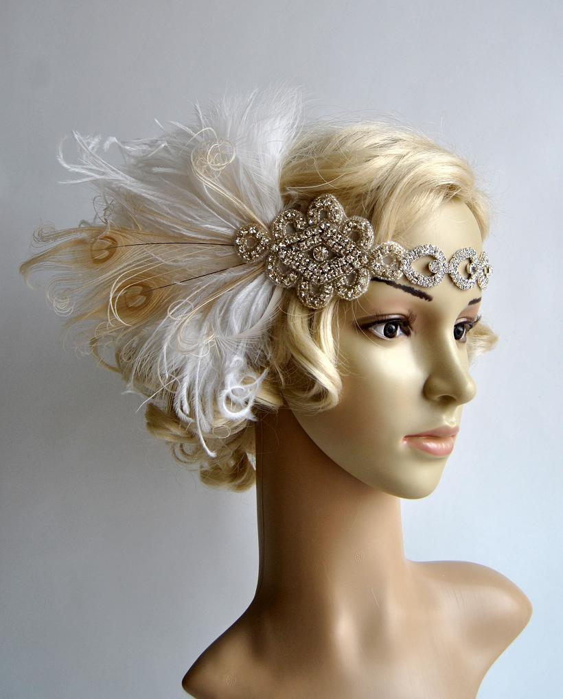 Mariage - Ready to ship White Dream Rhinestone The Great Gatsby 1920s Flapper Headdress bridal dance peacock headpiece headband, white ivory champagne