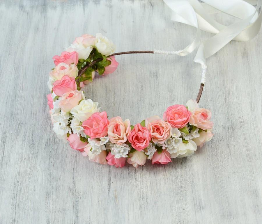 Mariage - Flower crown, bridal flower tiara, ivory pink white roses, headband, woodland wedding, rustic, headpiece, head wreath