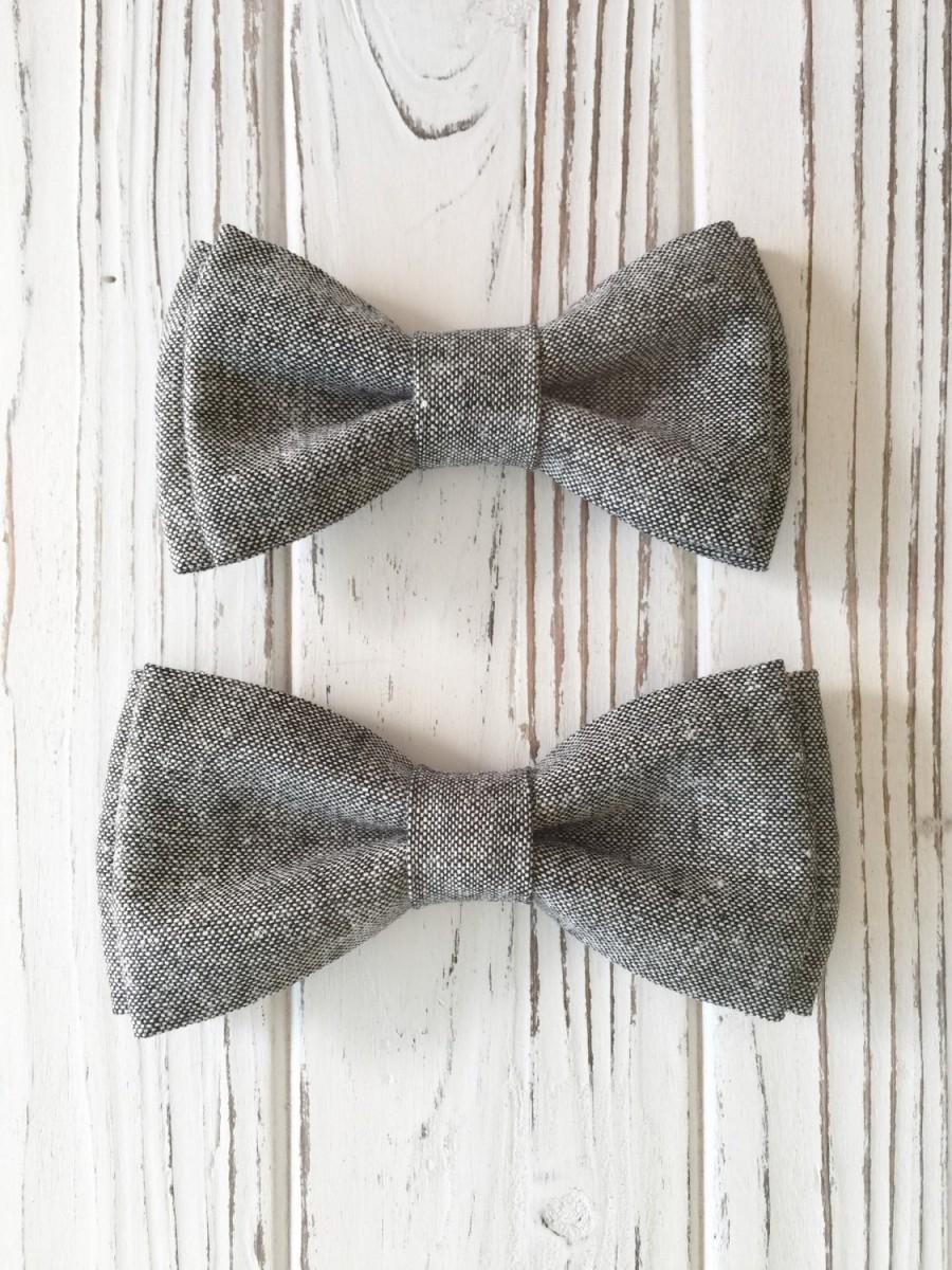 Mariage - Modern dark grey linen/cotton blend bowtie - Daddy and son bow ties - brothers - Ring boy - Groomsmen bow tie- grey bow tie- dark grey bowti