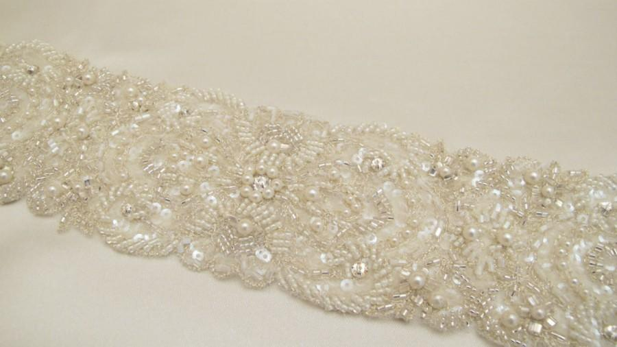 Mariage - Bridal Pearl Sash, Extra Wide Wedding Sash, Wedding Pearl Belt, 7 cm width sash, Pearl Beaded Champagne Sash, Bridal Ivory Sash, Gold Sash
