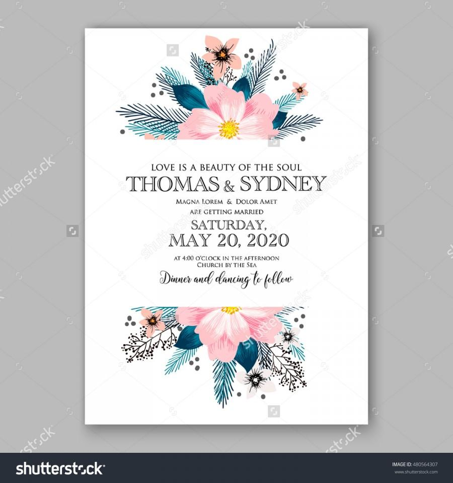 romantic pink peony bouquet bride wedding invitation template design