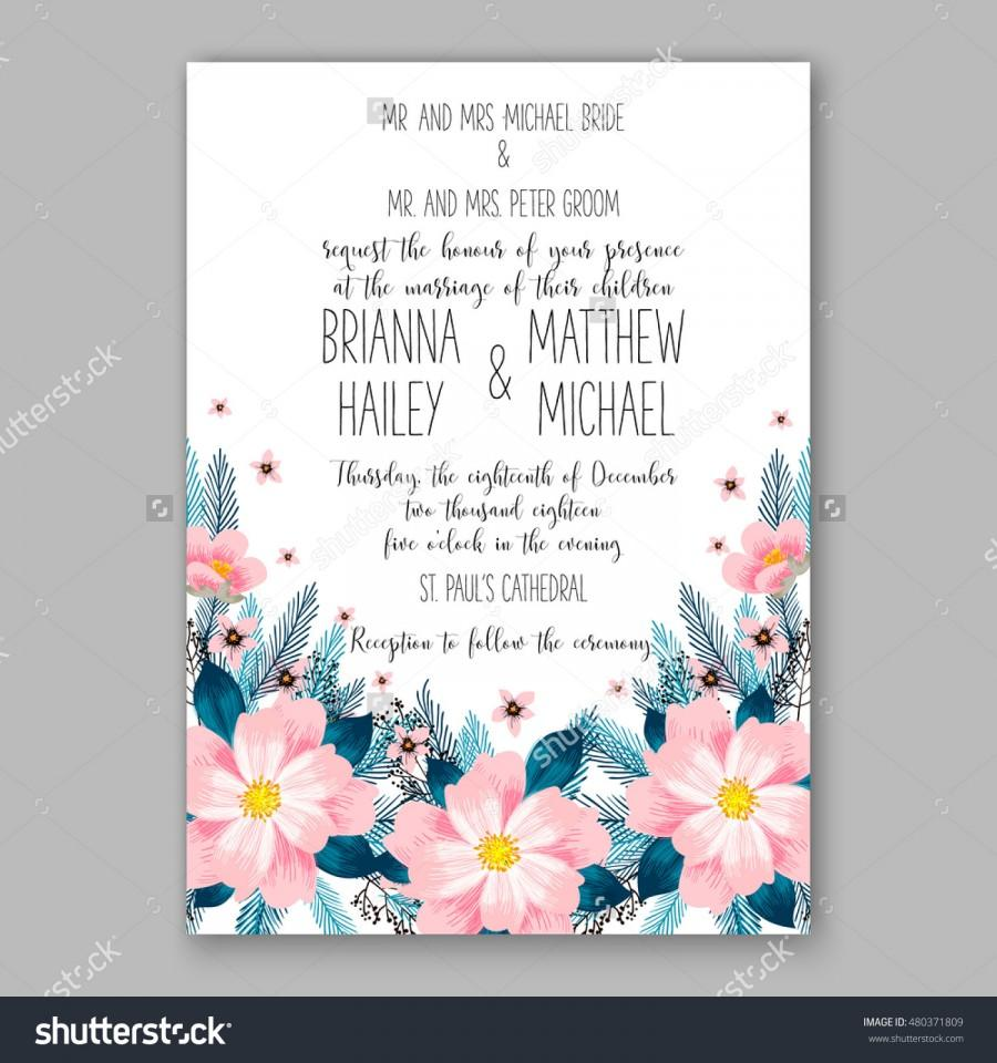 Hochzeit - Romantic pink peony bouquet bride wedding invitation template design. Winter Christmas wreath of pink flowers and pine and fir branches.
