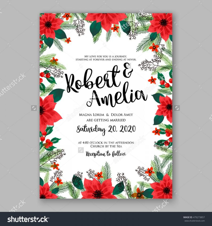 Poinsettia wedding invitation sample card beautiful winter floral poinsettia wedding invitation sample card beautiful winter floral ornament christmas party wreath poinsettia pine branch fir tree needle flower bouquet stopboris Image collections