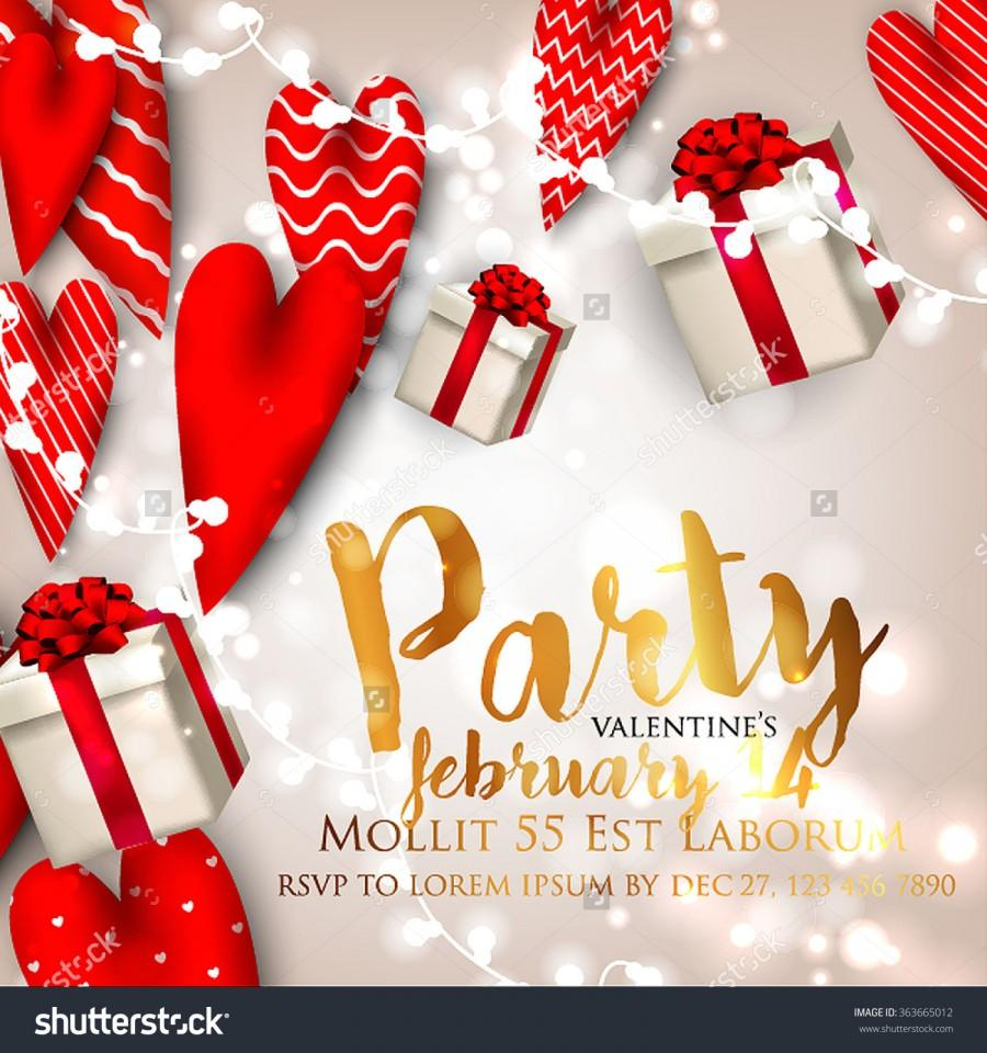 Valentine\'s Day Party Invitation With Gift Box Snow And Heart ...