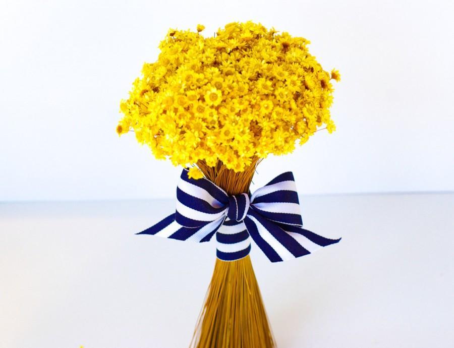 Mariage - Wedding bouquet,  dried flowers,  bridesmaids bouqet,  dried wedding flowers,  yellow flowers, dried bouquet