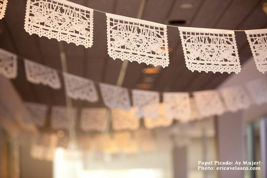زفاف - Personalized Papel Picado - sets of 2 banners - DOS PALOMAS Custom Color Mexican Wedding Garlands