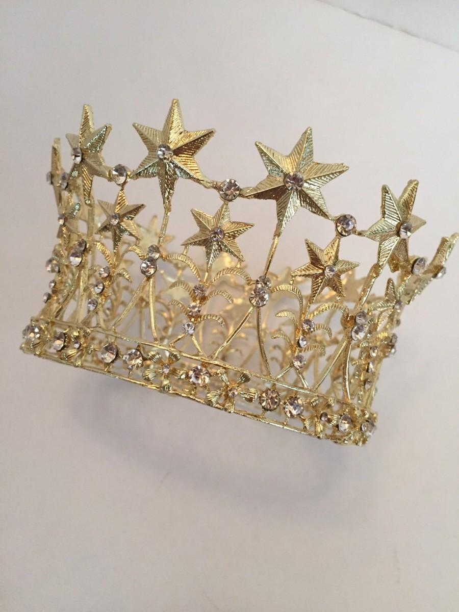 Свадьба - Metal Star Crown, Ornate Gold Crown, Cake Topper, Wedding Cake Topper, Rhinestone Crown, Religious Crown, Bridal Crown, Wedding Crown