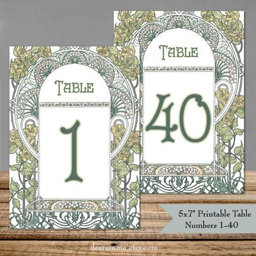 """Свадьба - Printable Table Numbers 1-40 Art Nouveau Gatsby Garden - 5x7"""" PDFs - Instant Download - Wedding Table Signs - DIY Ready to Print Yourself"""