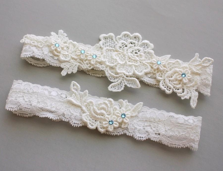 Mariage - Ivory Lace Wedding Garter Set, Something Blue Garter Set, Ivory Lace Garters with Aqua Blue Crystals, Lace Garter Set - Bridal Garter Belt