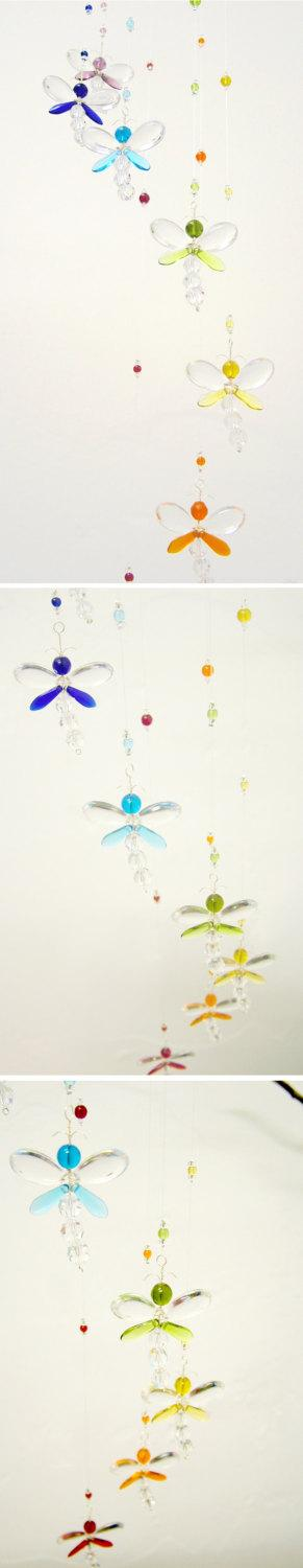 Hochzeit - Dragonfly Mobile Nursery Idea Crystal Baby Mobile Baby Boy Mobile Swarovski Crystal Suncatcher Kids Xmas Gift Rainbow Girl's Room Decor