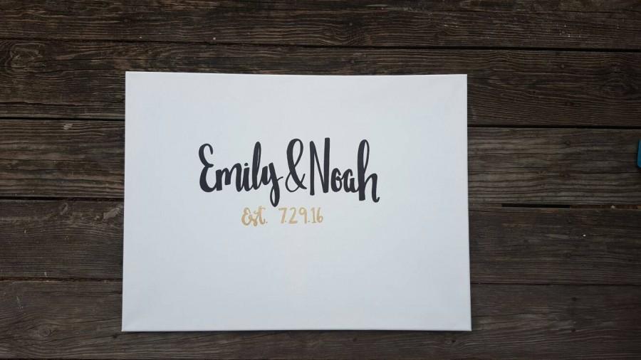 Wedding Guestbook Canvas Sign Couples Names Bride Groom Wedding ...
