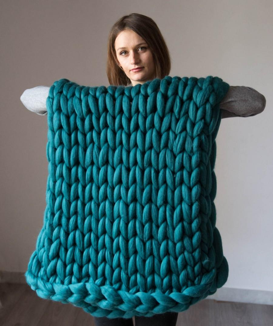 Düğün - Chunky knit Blanket. Knitted blanket. Merino Wool Blanket. . Extreme Knitting, green blanket