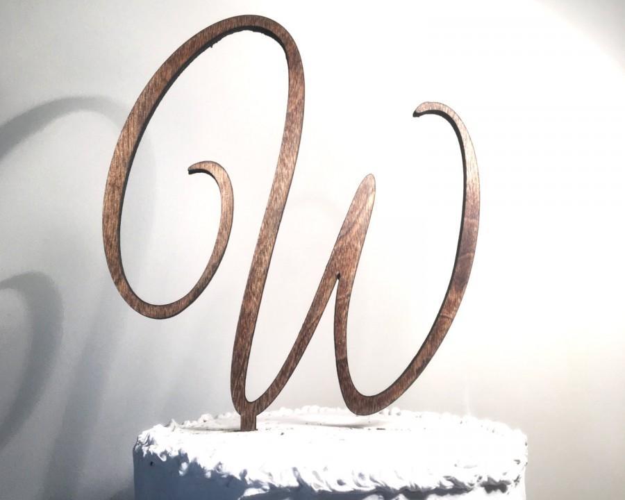 Wooden Wedding Cake Topper Letter W Monogram Cake Topper Rustic