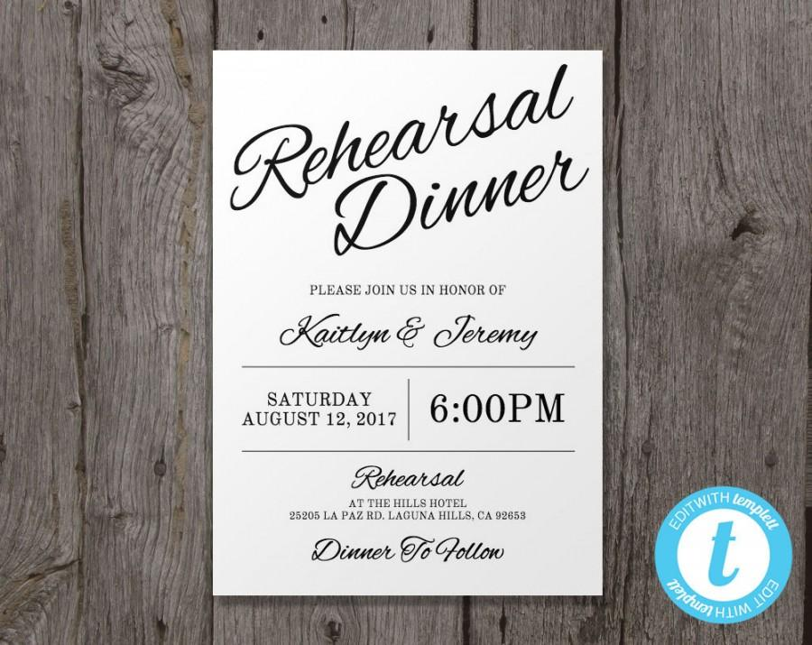 Printable Wedding Rehearsal Dinner Invitation Template Instant