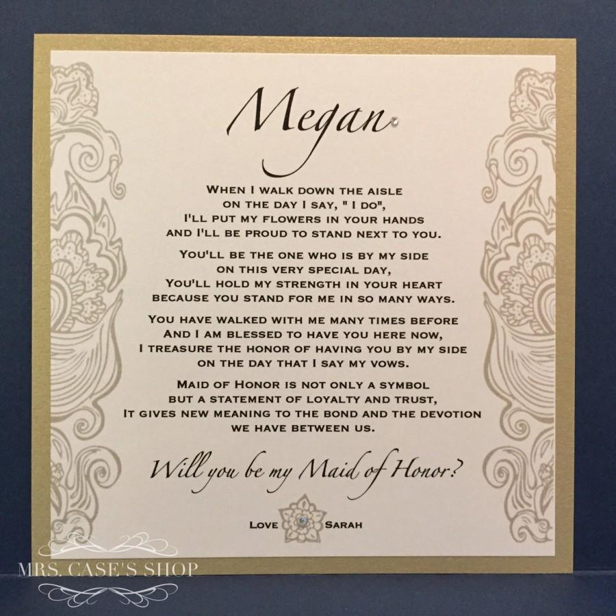 Will You Be My Bridesmaid Card Maid Of Honor Wedding Party Ask Personalized Cards Invite Gold Black Proposal