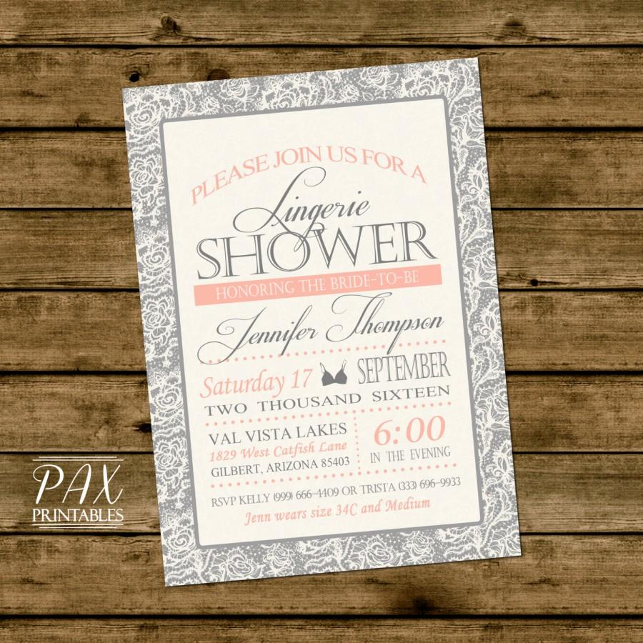 زفاف - Lingerie Shower Invitation  - Printable Lace Invitation, Bachelorette Party, Bridal Shower, Couples Shower - Any Event!
