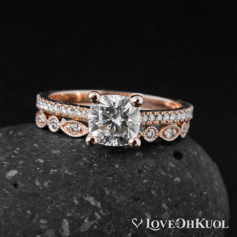 زفاف - Moissanite Engagement Ring - 4 Prong Setting - Forever One Moissanite, Wedding Band Set
