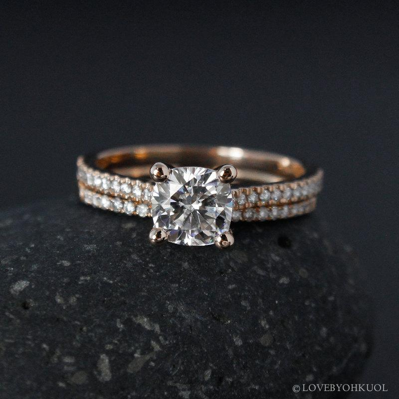 Свадьба - Rose Gold Forever One Moissanite Engagement Ring - Matching Half-Eternity Diamond Band - Prong Set