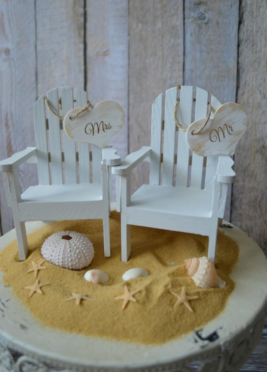 Mariage - beach chairs-beach-wedding-cake topper-bride-groom-chairs-destination-miniature-Mr and Mrs-custom-Adirondack-small chairs-beach wedding