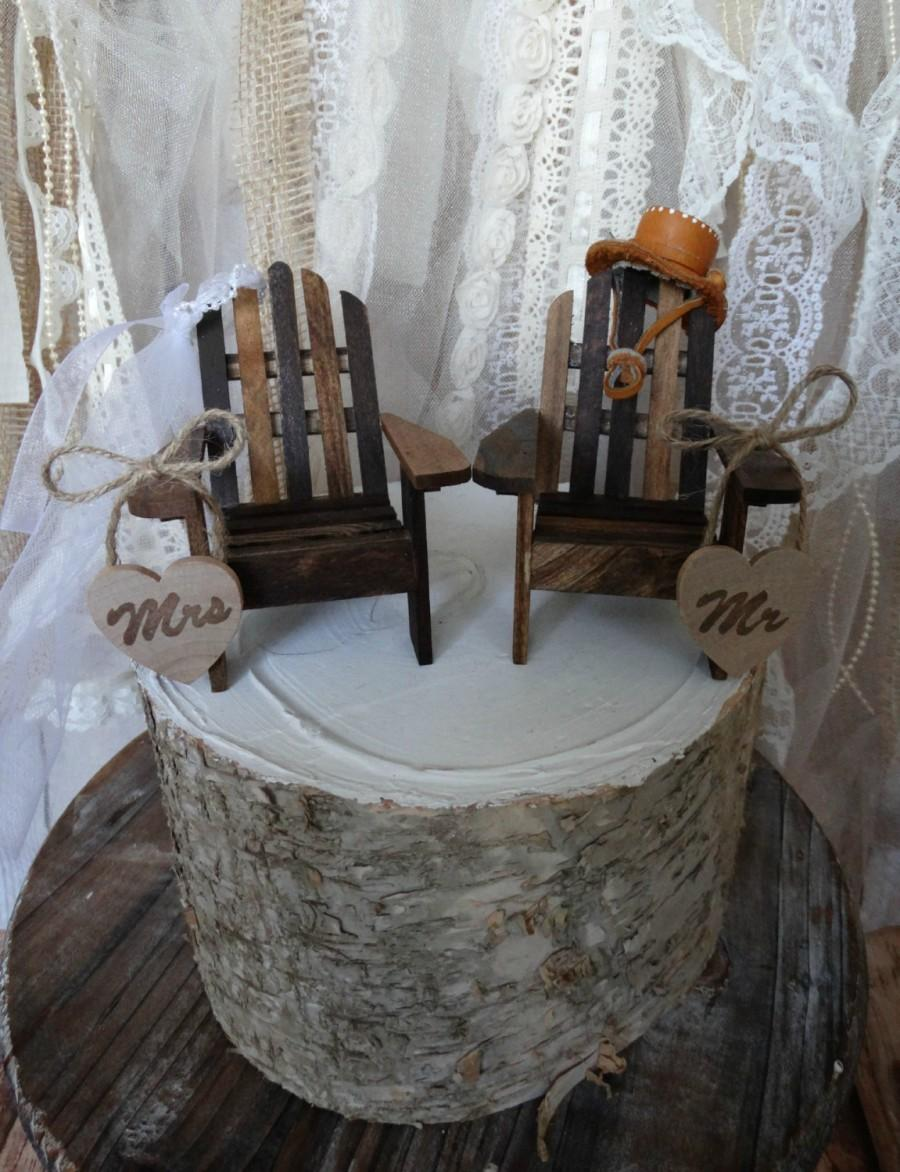 Lake Chairs Adirondack Chairs Miniature Chairs Fisherman Fishing Wedding  Cake Topper Cake Topper Rustic Western Wedding Wood Rustic Wedding