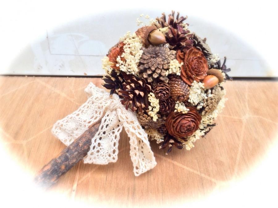 Mariage - Rustic Bridal Bouquet - Wedding Bouquet - Pine Cone Bridal Bouquet - Fall Wedding Bouquet - Alternative Bridal Bouquet - Bridal Bouquets