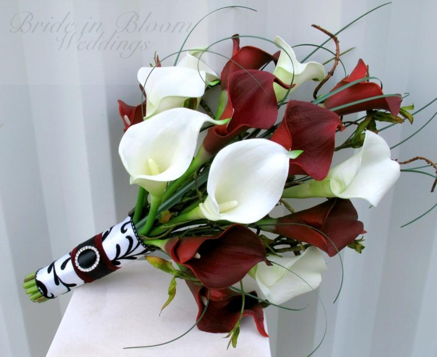Mariage - Wedding Bouquet real touch red white calla lily Bridal bouquet Damask wedding flowers