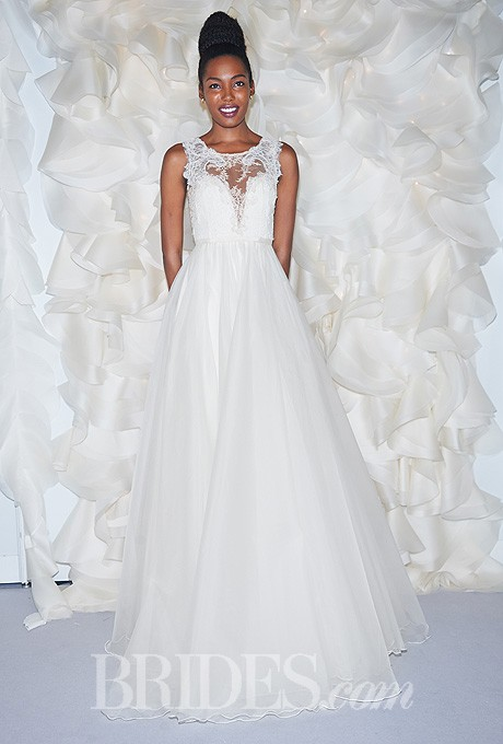 Wedding - Leanne Marshall - Fall 2014 - Danielle Ivory and Nude Lace A-Line Wedding Dress with Organza Skirt and Lace Applique Neckline - Stunning Cheap Wedding Dresses