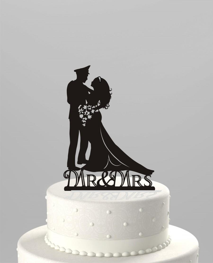 Mariage - SALE Price! Ships NEXT Day! Wedding Cake Topper Silhouette Military Groom & Bride, Officer, Uniform Cake Topper in BLACK Acrylic [CT9m]