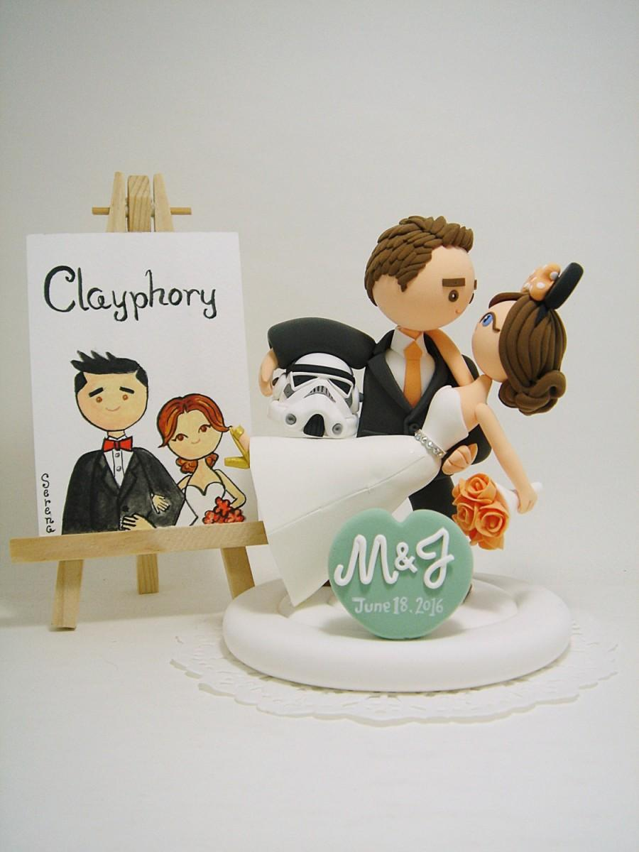 Mariage - Star wars and Disney theme custom wedding cake topper