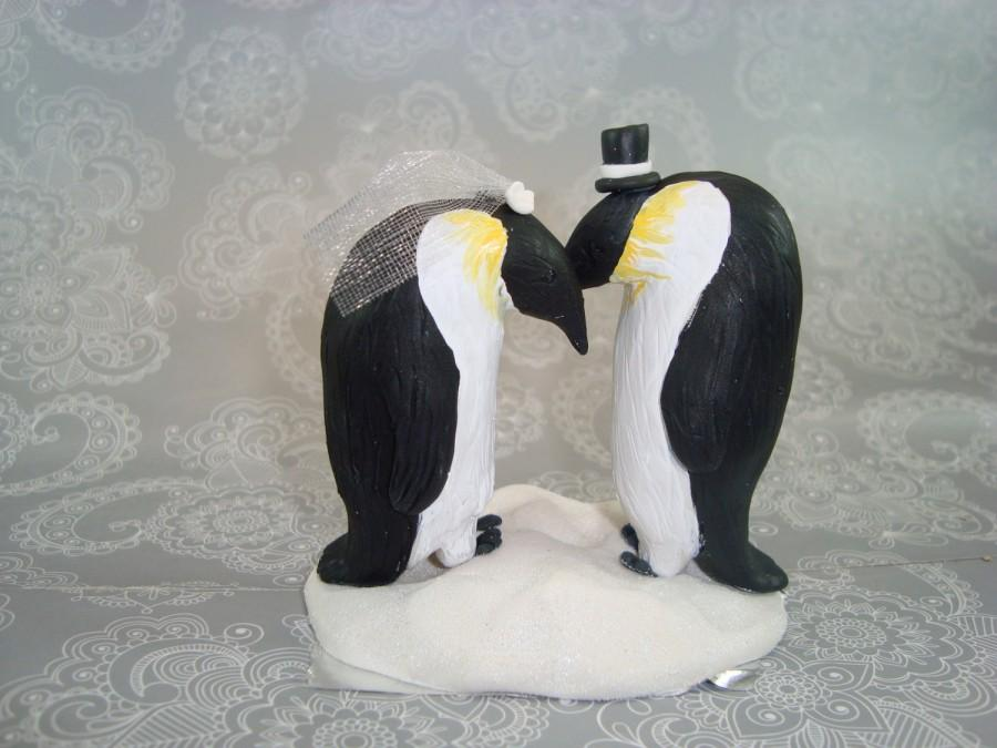 Mariage - Custom Handmade Penguin Wedding Cake Topper