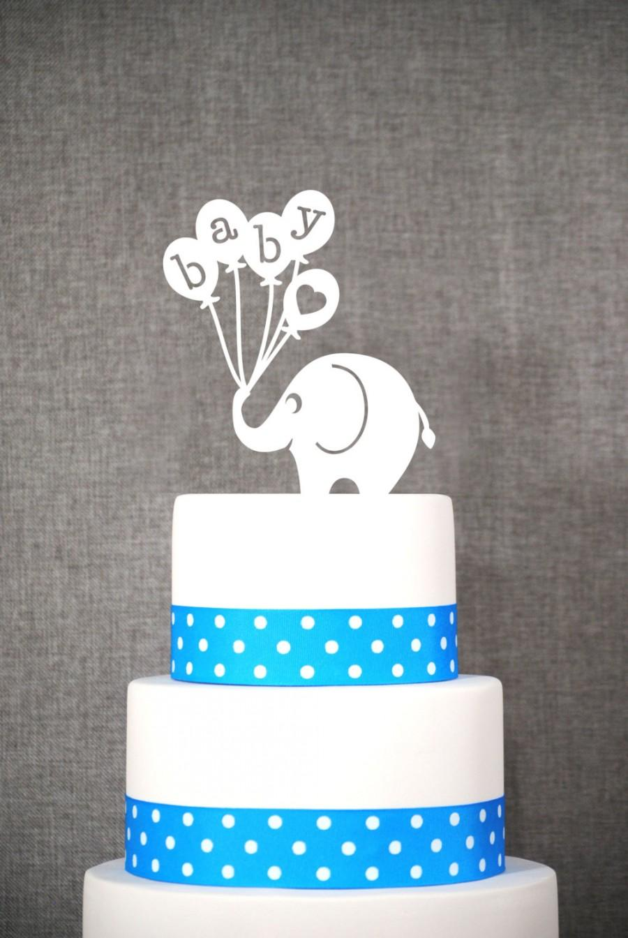 Wedding - Baby Elephant Cake Topper, Fun Baby Shower Topper, Classic Baby Cake Topper- (S191)