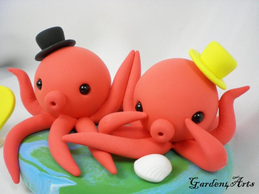 Mariage - Weddig Cake Topper--Pink Octopus Love with Ocean Base - Custom Order for Summer Beach Wedding