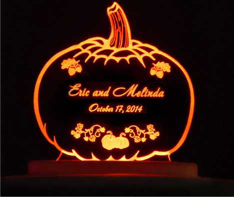 Hochzeit - Pumpkin Autumn Wedding Cake Topper  - Engraved & Personalized - Acrylic - Light Option