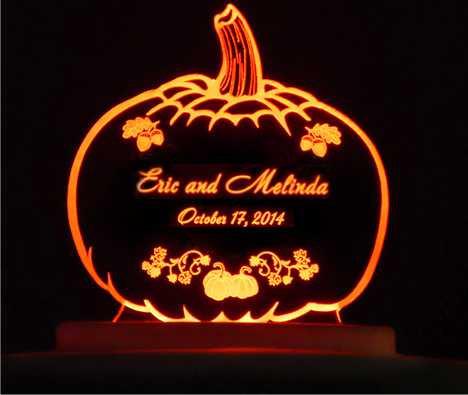 Свадьба - Pumpkin Autumn Wedding Cake Topper  - Engraved & Personalized - Acrylic - Light Option