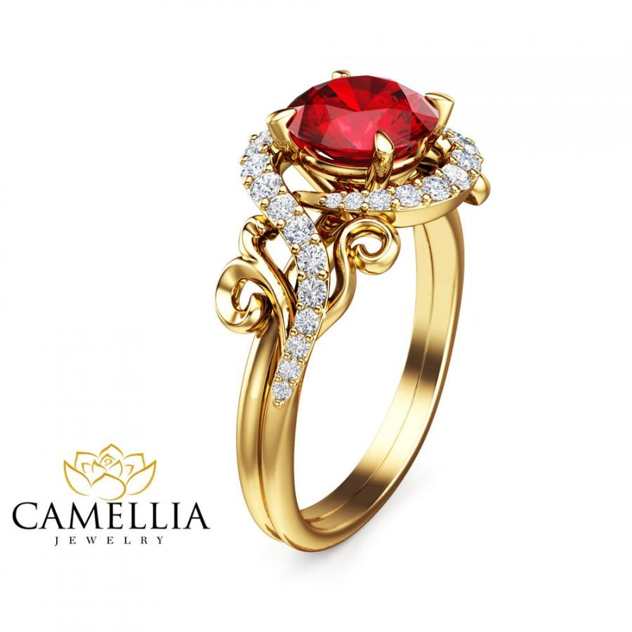 Wedding - 14K Yellow Gold Ruby Ring Unique Engagement Ring Ruby Engagement Ring