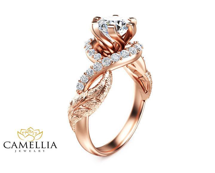ddf3b07c2a1ee Leaf Moissanite Engagement Ring 14K Rose Gold Moissanite Ring ...