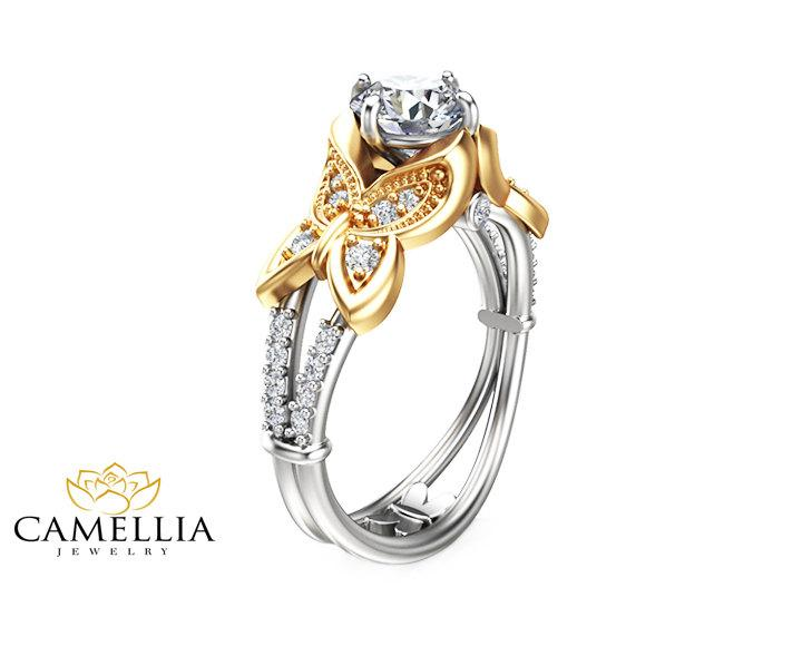 Hochzeit - Butterfly Design Moissanite Engagement Ring 14K Two Tone Gold Moissanite Ring Unique Engagement Ring