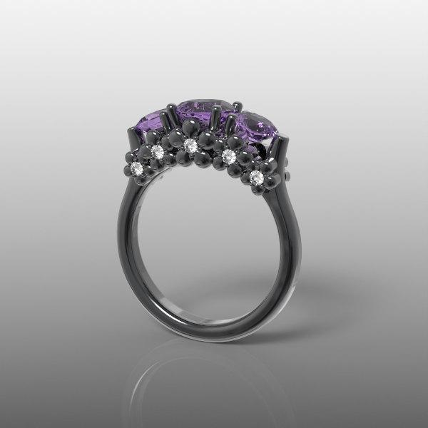 Mariage - 14k black gold engagement ring, floral ring, flower ring, nature inspired ring, natural amethyst and natural diamonds, AKR-475