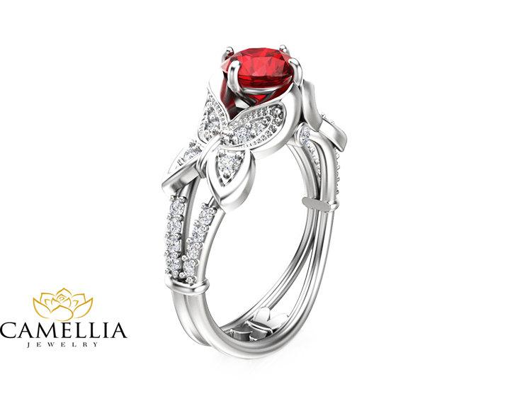 Mariage - Butterfly Design Ruby Engagement Ring 14K White Gold Natural Ruby Ring Unique Engagement Ring