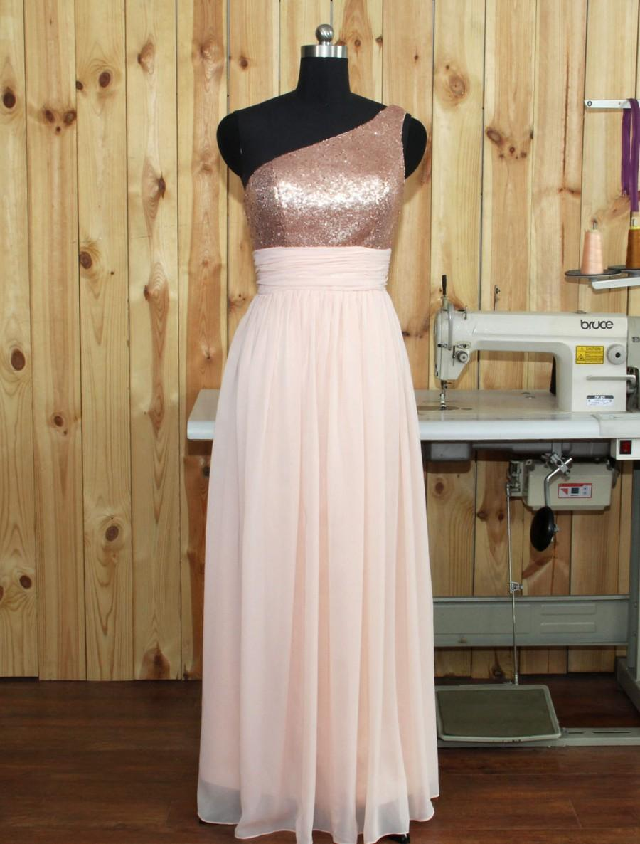 2016 Pearl Pink Chiffon Bridesmaid Dress One Shoulder Silver Sequin Wedding Long Prom Evening Gown Floor Length